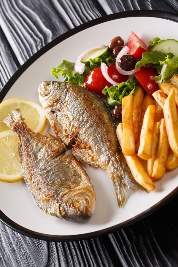Smażąca Śródziemnomorska Sarpa salpa ryba słuzyć z świeżymi sałatki i francuza dłoniakami w górę talerza dalej pionowo zdjęcie royalty free