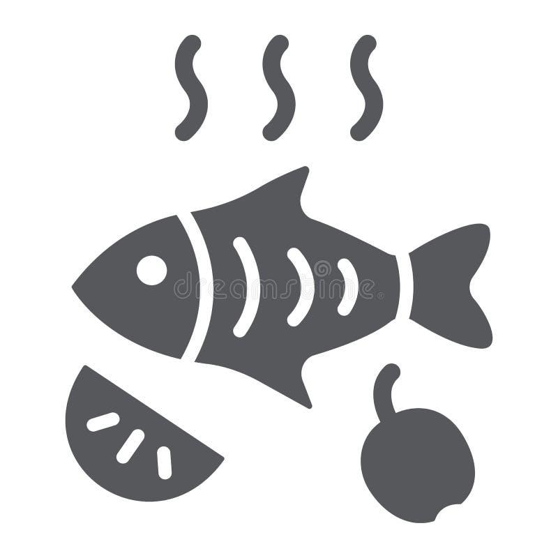 Smażąca glif ikona, jedzenie i morze rybi, piec na grillu ryba znak, wektorowe grafika, bryła wzór na białym tle ilustracji