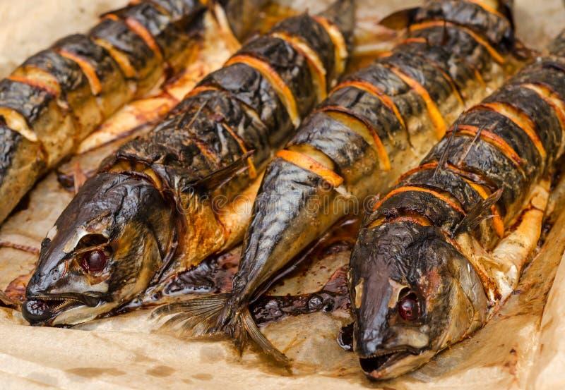 Smażąca makrela zdjęcie stock