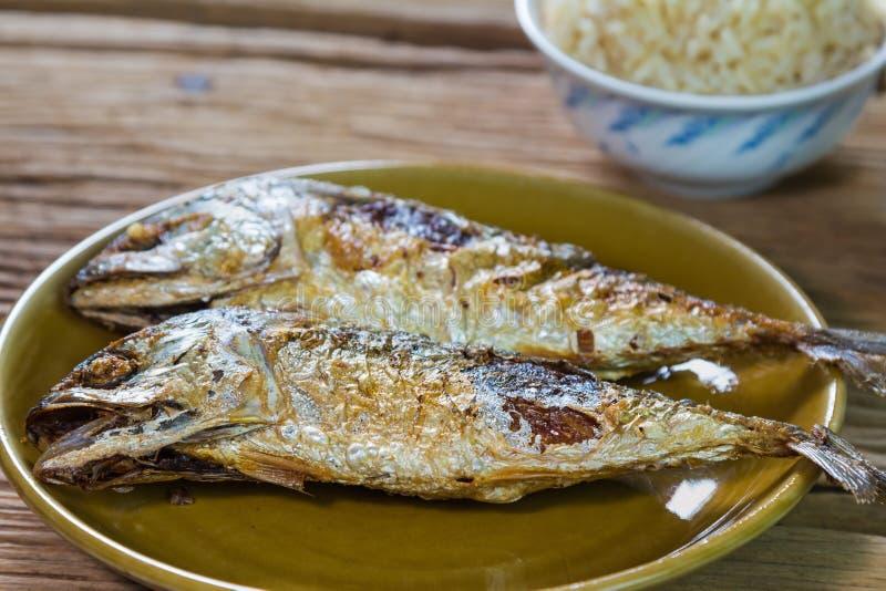 Smażąca makreli ryba fotografia royalty free