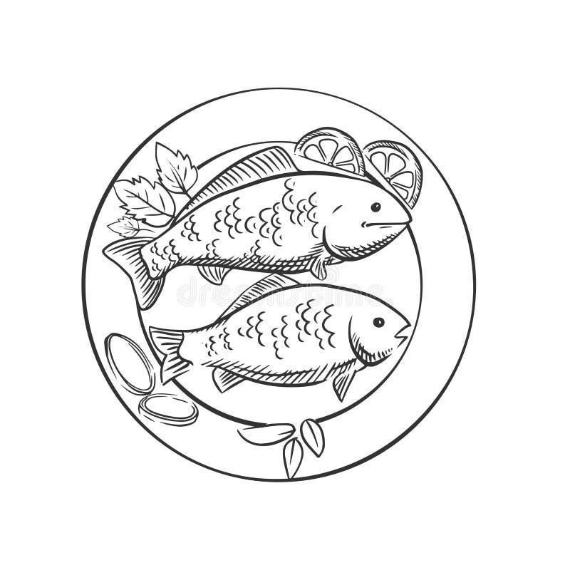 Smażąca ryba z cytryną i ziele ilustracja wektor