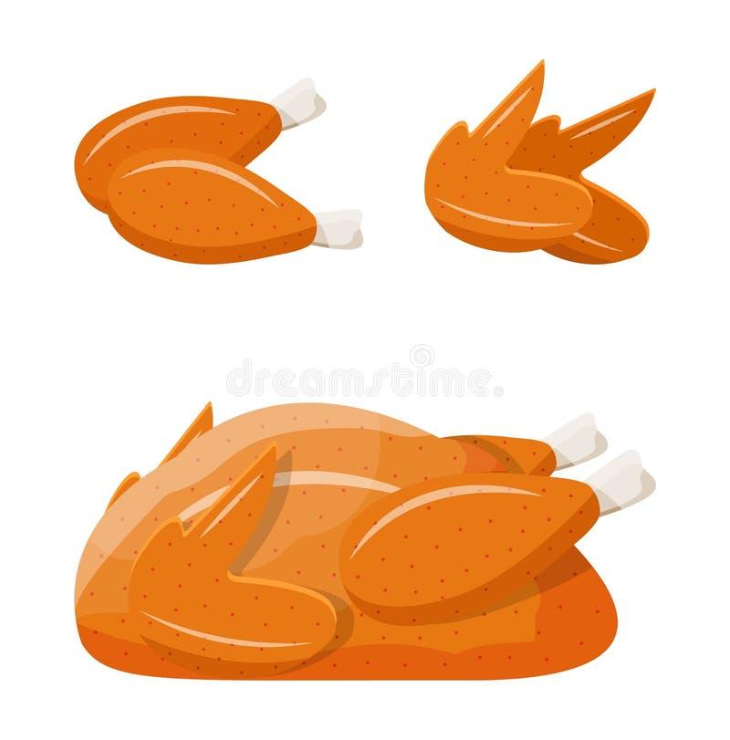 Smażący świeży kurczaka ciało ilustracji