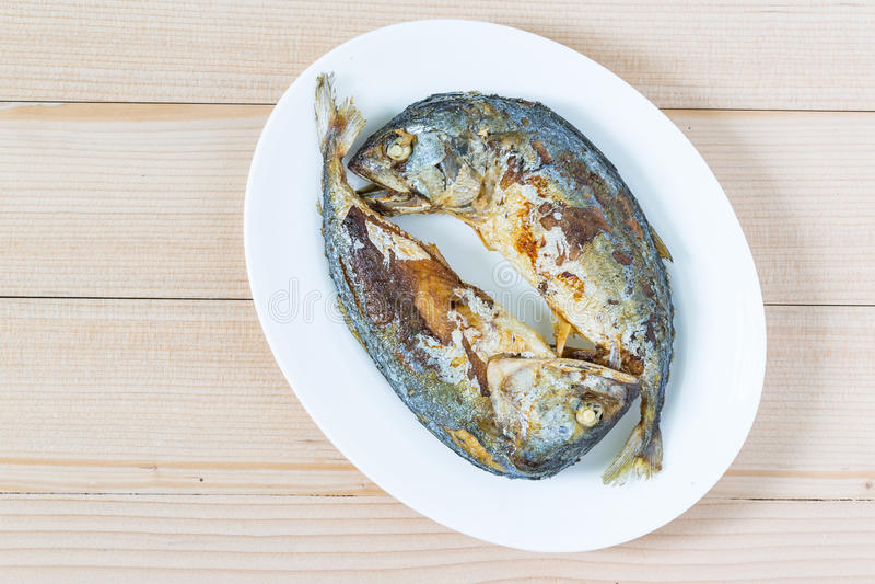 Smażący dwa krótkiej makreli ryba na drewnianej podłoga zdjęcie stock