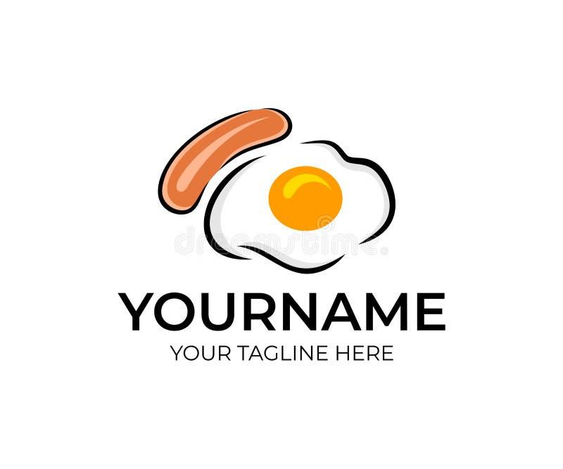 Smażący jajka lub gramolący się jajka z kiełbasą lub frankfurter, logo projekt Jedzenie, napój, śniadanie, knajpa i restauracja,  royalty ilustracja