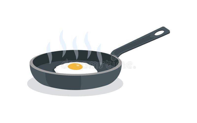 Smażący jajka na niecce z rękojeścią royalty ilustracja