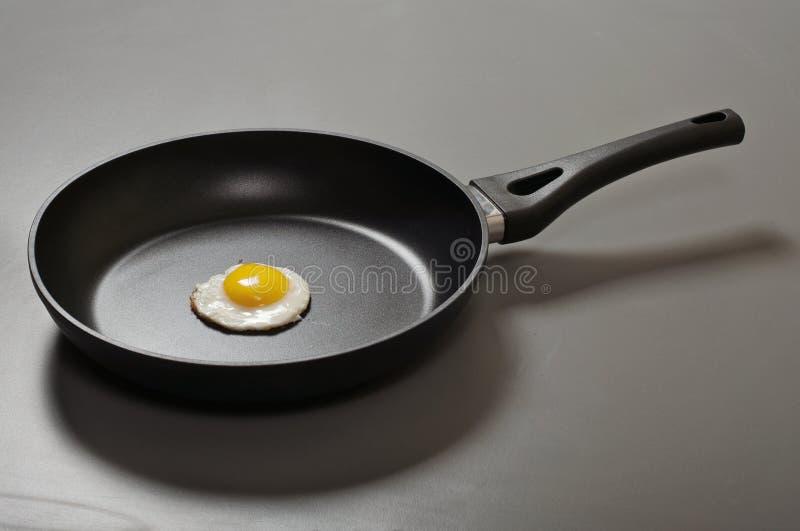Smażący jajka w nowym kiju smaży nieckę obraz stock