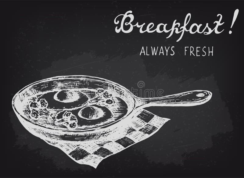 Smażący jajka z brokułami na niecce Chalkboard stylowa wektorowa ilustracja ilustracja wektor
