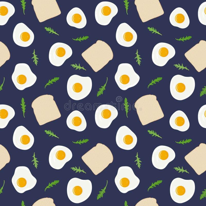 Smażący jajko, grzanka chleb i rakietowej sałatki rucola bezszwowy wzór, Wektorowa ręka rysująca ilustracja ilustracji