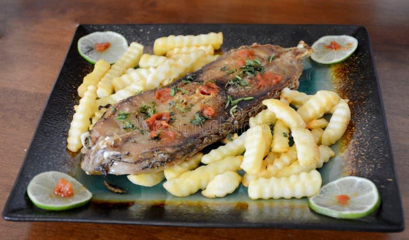 Smażący Rybi stek Z Francuskimi dłoniakami fotografia stock