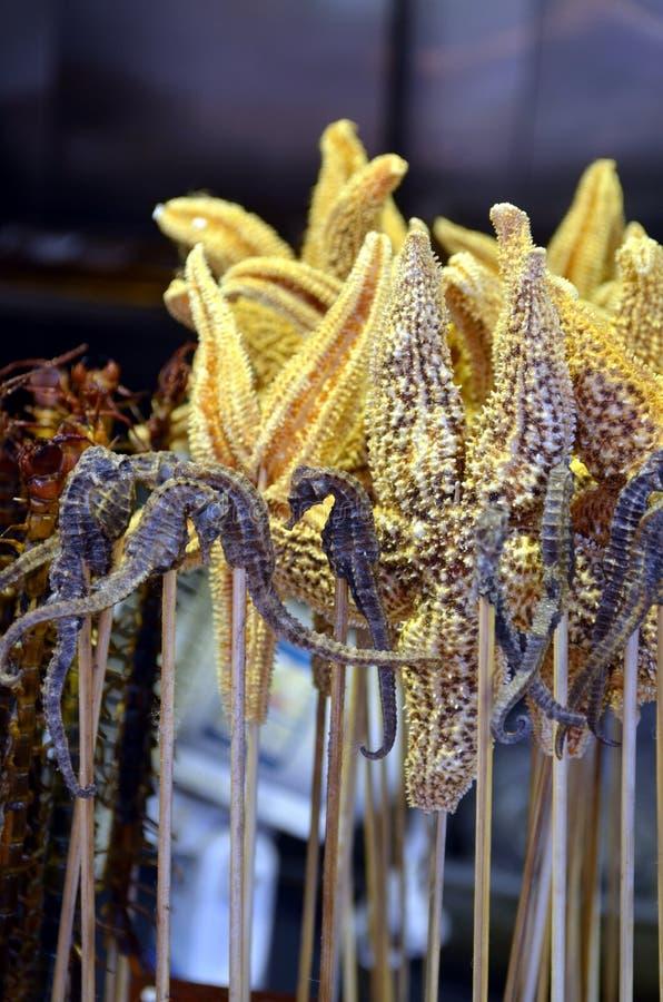 Smażący seahorses - chińska delikatność przy Wangfujing ulicą w Chiny zdjęcie royalty free