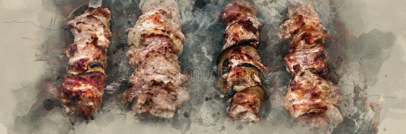 Smażący shish kebab ilustracji