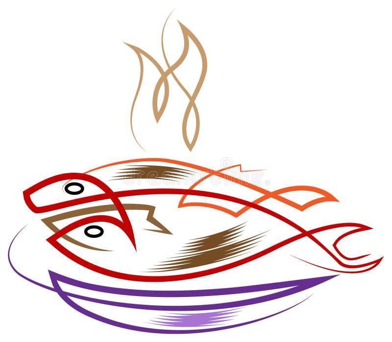 smażona ryba ilustracja wektor