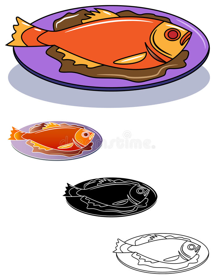 smażona ryba royalty ilustracja