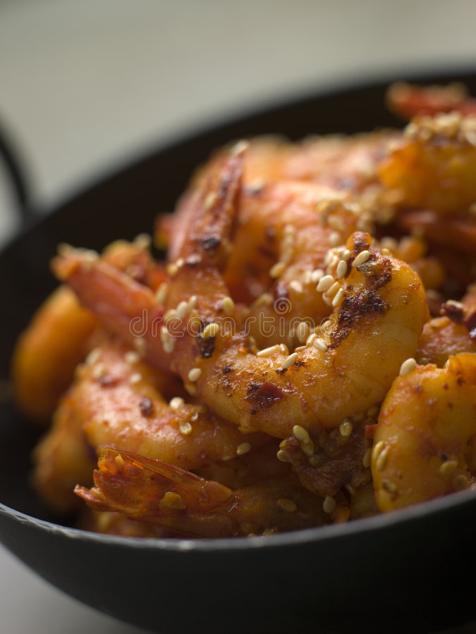smażone krewetki chili sezamowe króla. zdjęcia stock