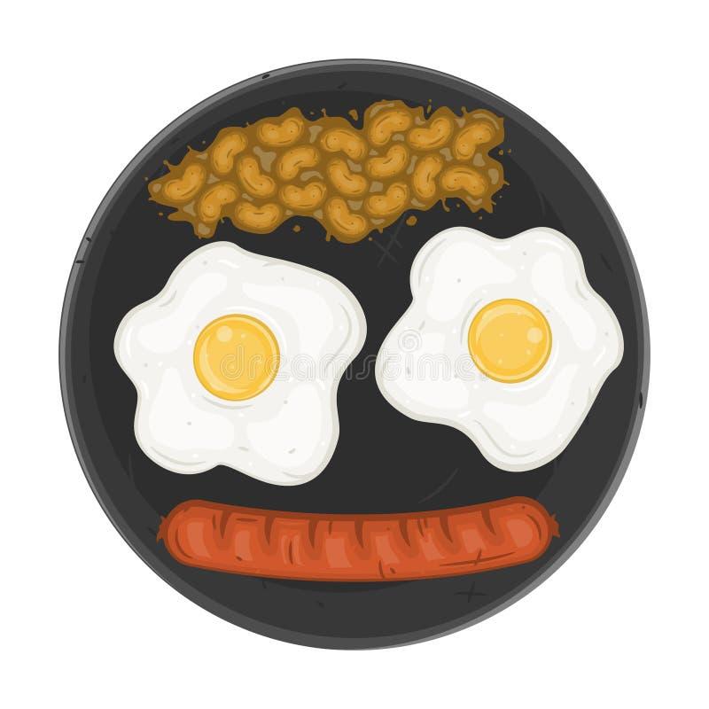 Smażyć kiełbasy z fasolami i jajka Amerykański śniadaniowy odgórny widok royalty ilustracja