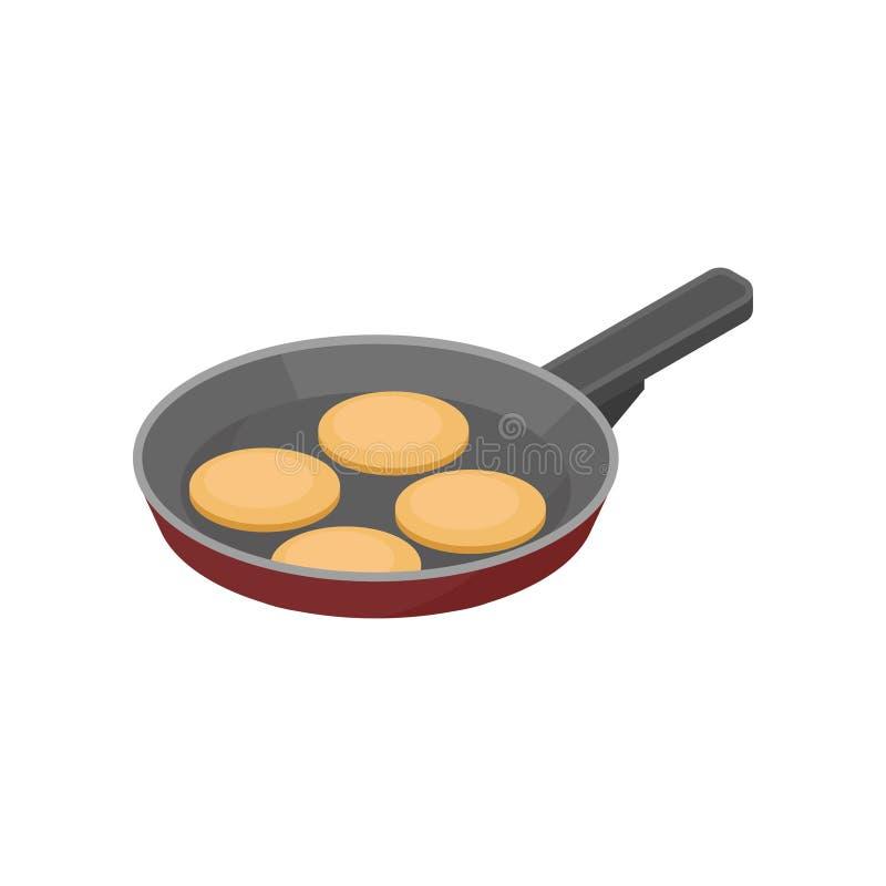 Smażyć nieckę z blinami Smakowita przekąska dla śniadaniowego ranku łasowania Isometric wektorowa ikona dla przepis książki ilustracji