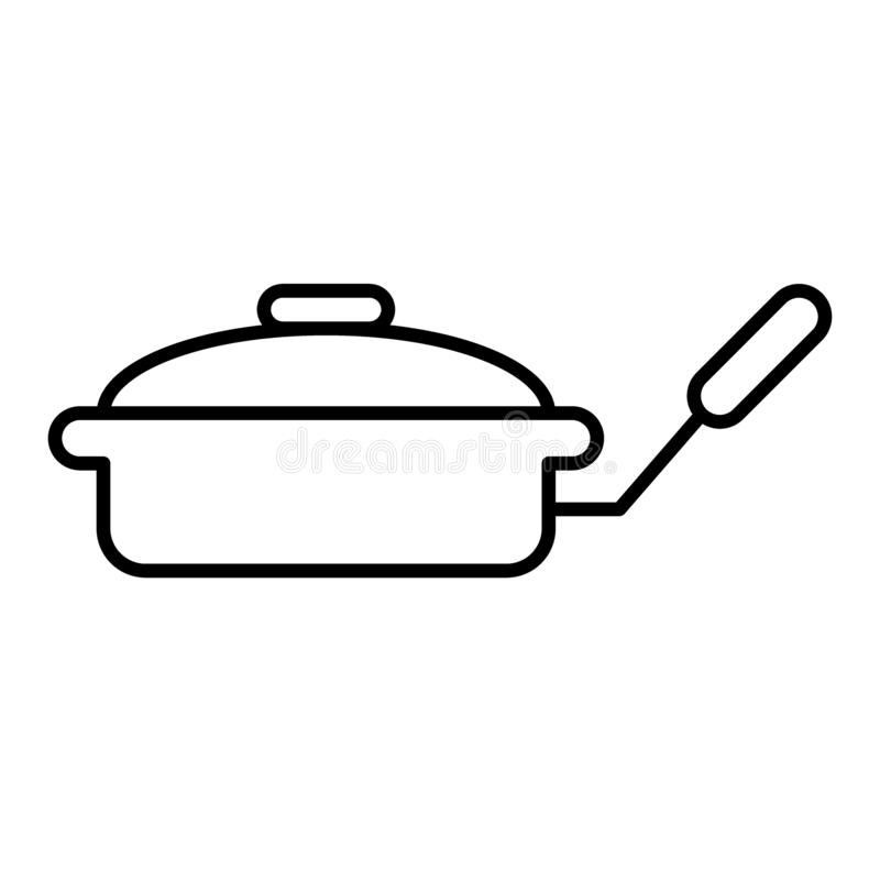 Smażyć nieckę z dekiel cienką kreskową ikoną Griddle wektorowa ilustracja odizolowywająca na bielu Kitchenware konturu stylu proj ilustracja wektor