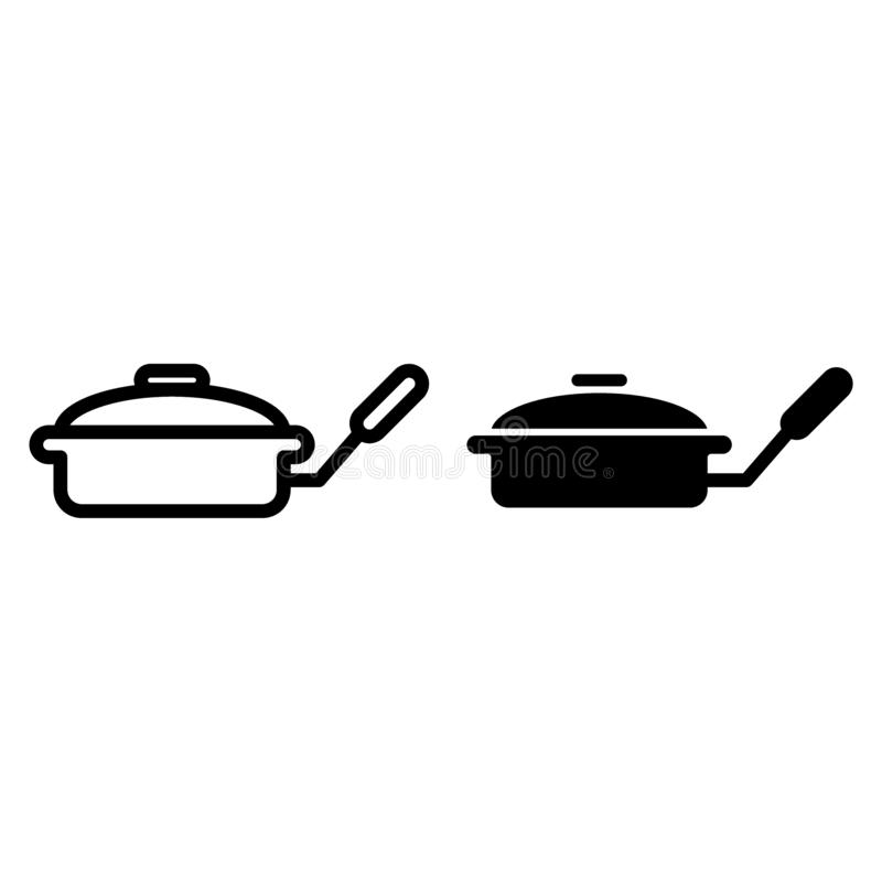 Smażyć nieckę z dekiel linią i glif ikoną Griddle wektorowa ilustracja odizolowywająca na bielu Kitchenware konturu stylu projekt ilustracji