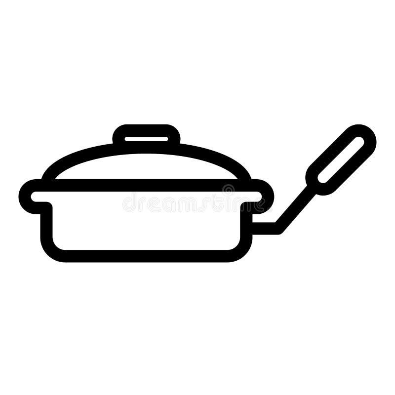 Smażyć nieckę z dekiel linii ikoną Griddle wektorowa ilustracja odizolowywająca na bielu Kitchenware konturu stylu projekt, proje ilustracji