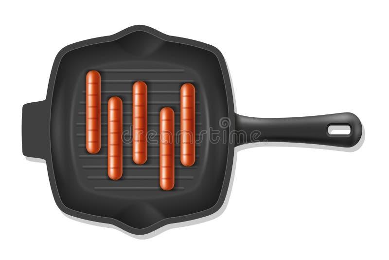 Smażyć pieczone kiełbasy na grill niecce zaopatrują wektorową ilustrację royalty ilustracja