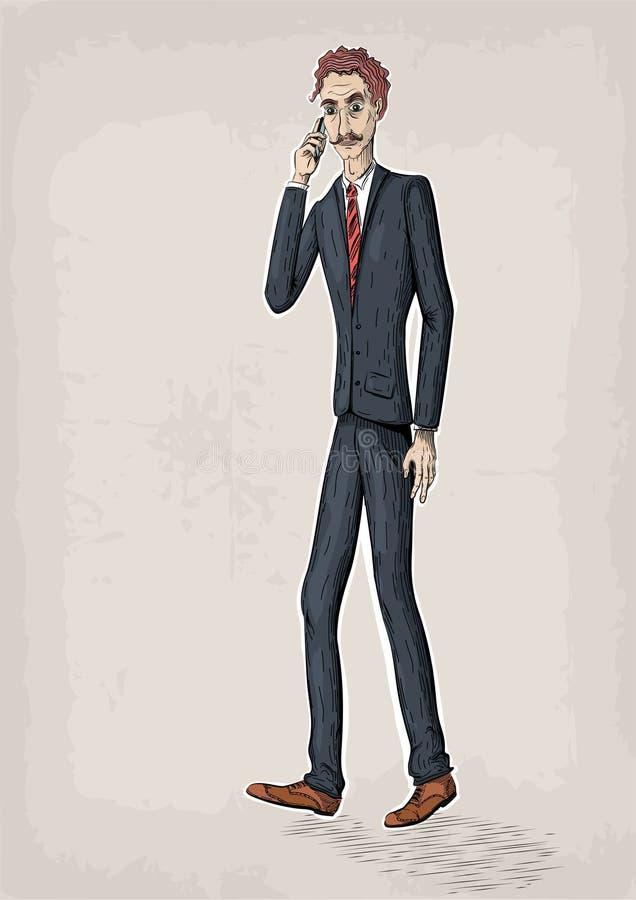 Sma humano de la mano del control del lazo de los zapatos de la chaqueta del traje de la gente de la persona masculina de los hom libre illustration