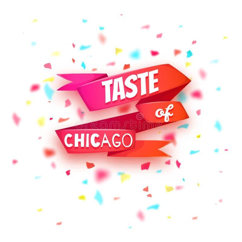 Smaak van de banner van Chicago Rood lint met titel royalty-vrije illustratie