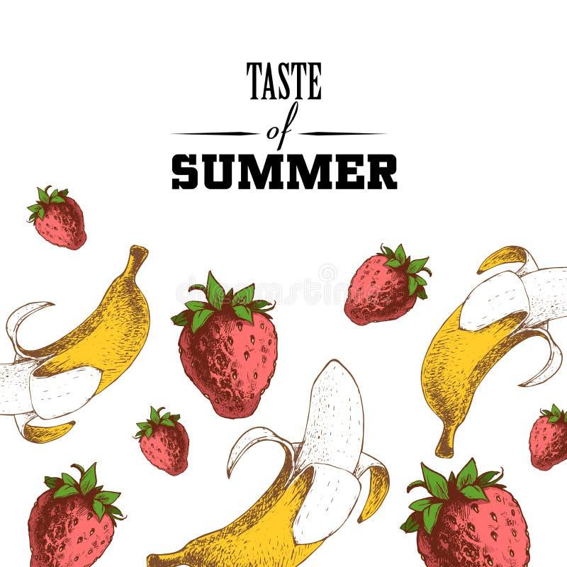 Smaak van het ontwerpmalplaatje van de de zomeraffiche Hand getrokken schets kleurrijke aardbeien en bananen stock illustratie