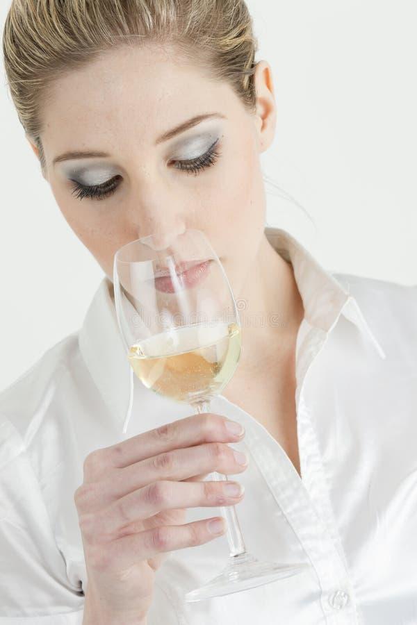 smaczna biały wina kobieta obrazy stock