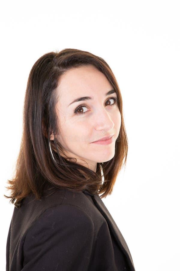 Smaczna brunetka w odzieży służbowej obrazy stock