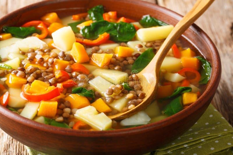 Smaczna zupa z warzywami, soczewicą i szpinakiem w miseczce poziome zdjęcia royalty free