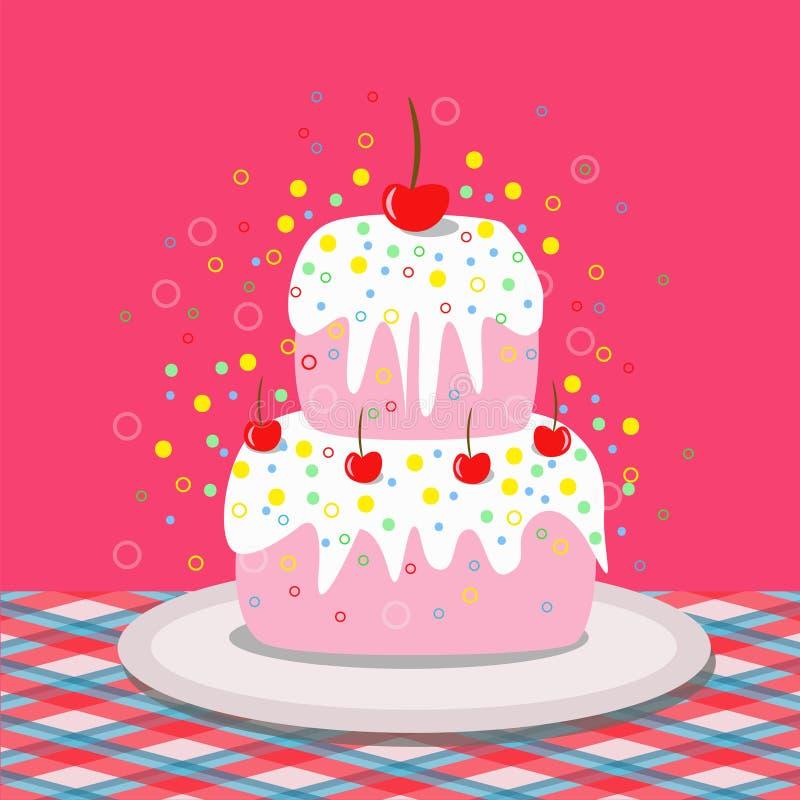 Smaczny tort z wiśniami ilustracji
