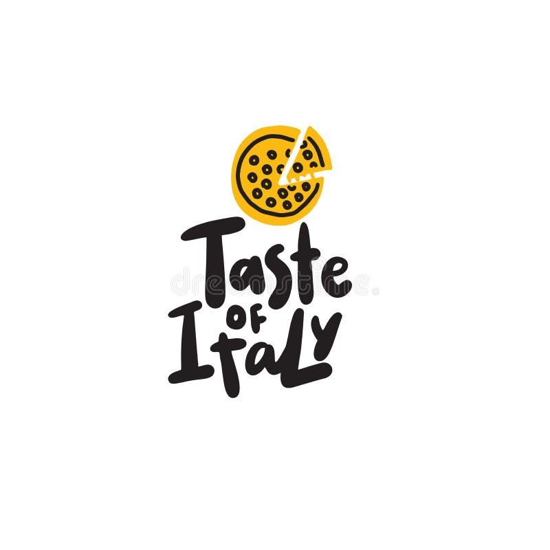 Smak av Italien Utdragen illustration för rolig hand av pizza vektor vektor illustrationer