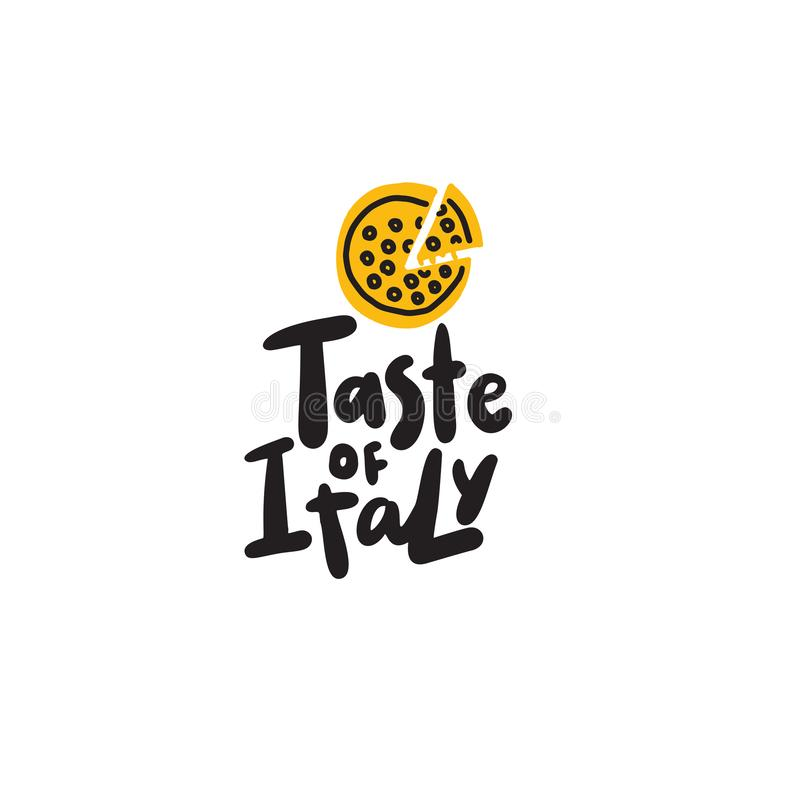 Smak Włochy Śmieszna ręka rysująca ilustracja pizza wektor ilustracja wektor