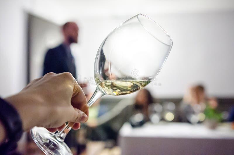 Smaka vitt vin arkivfoto