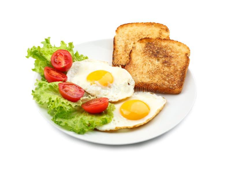 Smakelijk ontbijt met gebraden eieren royalty-vrije stock foto's
