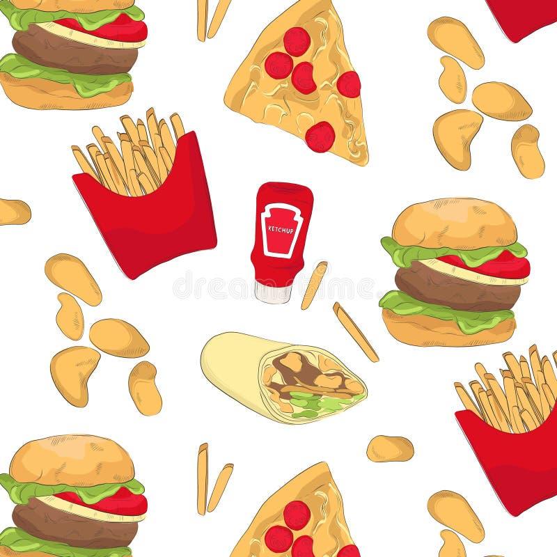 Smakelijk snel voedselpatroon met spaanders, hamburger, pizza, ketchup, omslag Druk van de voedsel de organische herhaling Keuken vector illustratie