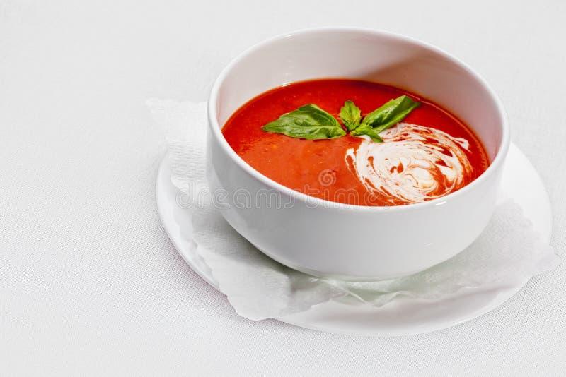 Smakelijk voedsel. Rode soep - borsjt. Oekraïense en Russische nationaal zo stock afbeelding