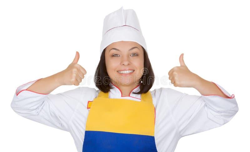 Smakelijk voedselconcept Mooie Jonge Vrouwenchef-kok Show Thumbs Up stock afbeelding