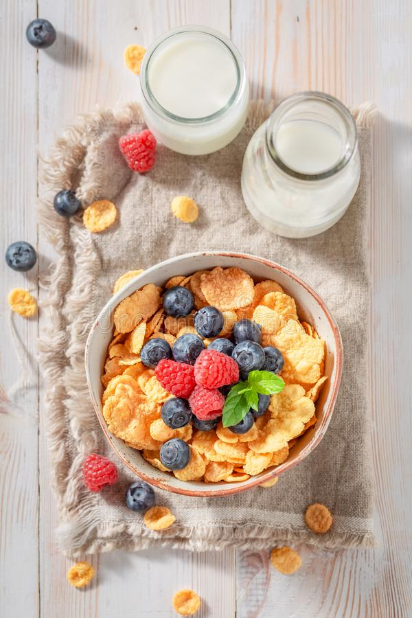Smakelijke cornflakes met bessen en melk voor ontbijt royalty-vrije stock fotografie