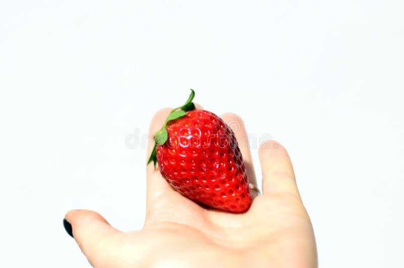 Smakelijke die aardbeien op witte achtergrond worden ge?soleerd royalty-vrije stock fotografie