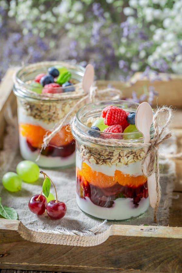 Smakelijke die havervlokken van yoghurt en verse bessen worden gemaakt royalty-vrije stock afbeelding