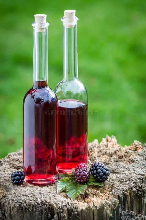 Smakelijke die likeur van alcohol en braambessen wordt gemaakt royalty-vrije stock afbeelding