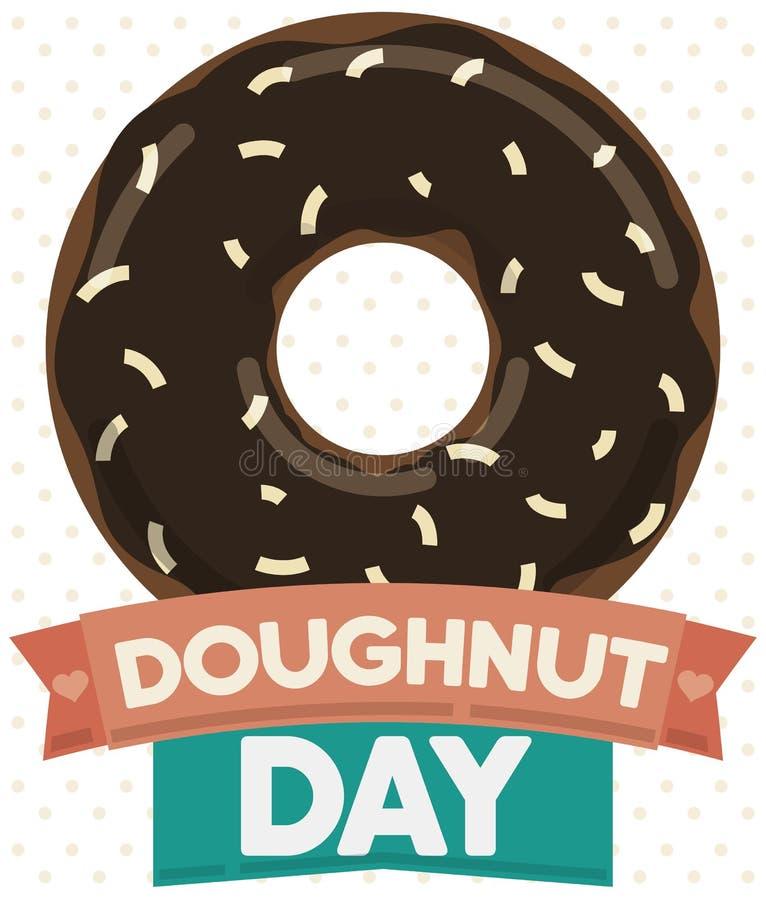 Smakelijke Doughnut met Chocolade en Kokosnotenglans voor Doughnutdag, Vectorillustratie royalty-vrije illustratie