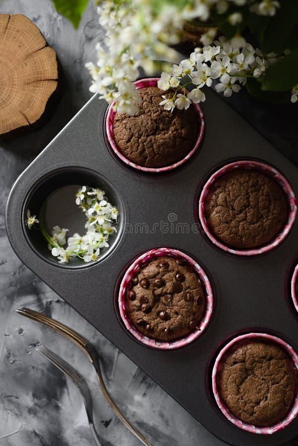 Smakelijke eigengemaakte chocolademuffins en kleine witte bloemen van vogelkers op donkere hoogste mening als achtergrond royalty-vrije stock fotografie