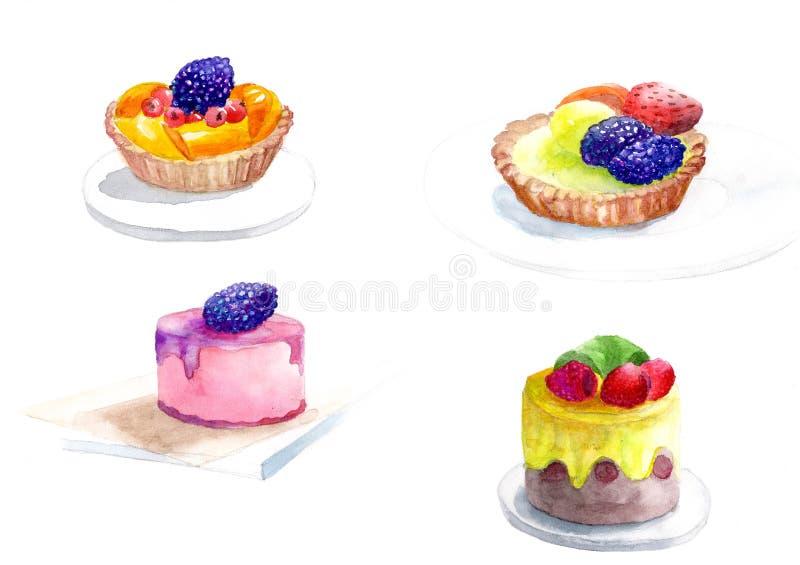 Smakelijke en sappige cakes met stukken fruit en bessen stock illustratie