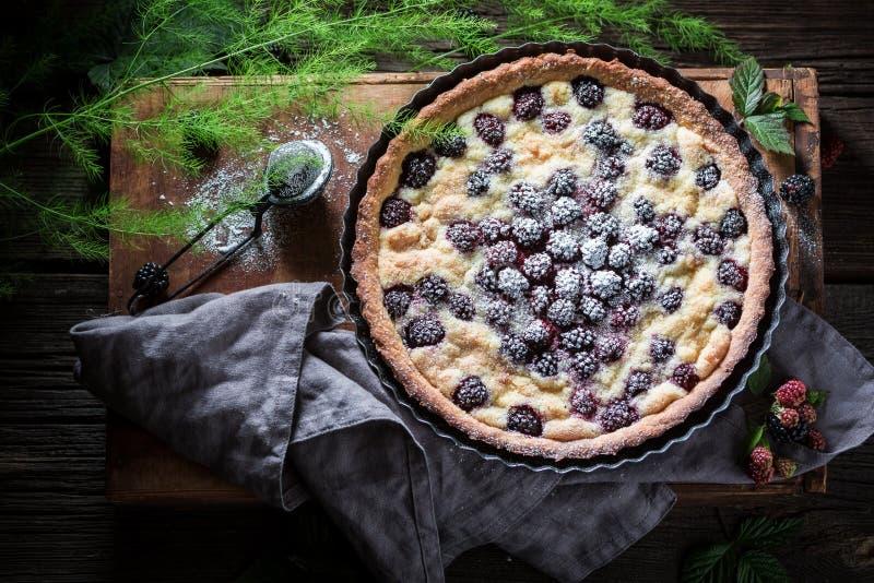 Smakelijke en zoete die scherp met braambessen van verse vruchten worden gemaakt stock foto