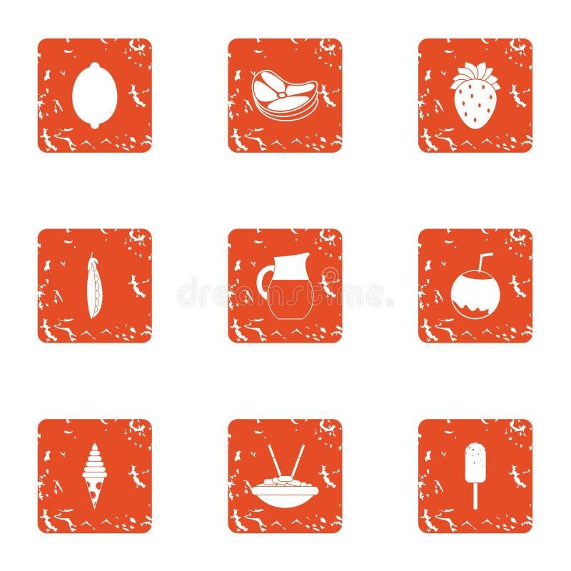 Smakelijke geplaatste ijscoupepictogrammen, grunge stijl royalty-vrije illustratie