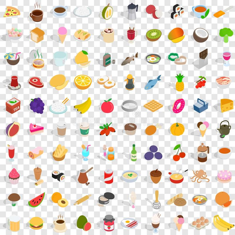 100 smakelijke geplaatste pictogrammen, isometrische 3d stijl royalty-vrije illustratie