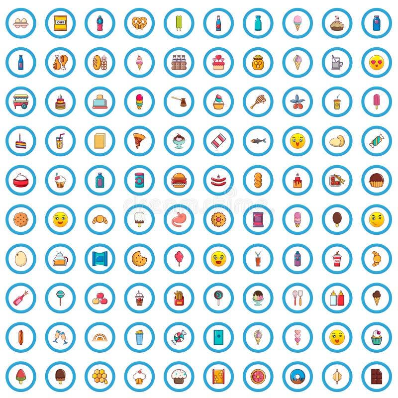 100 smakelijke geplaatste voedselpictogrammen, beeldverhaalstijl stock illustratie