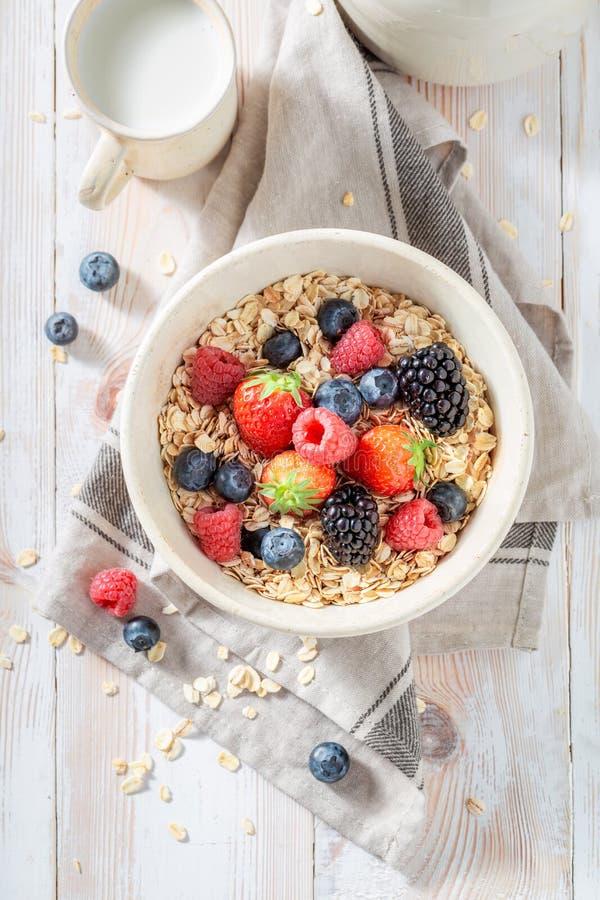 Smakelijke granola met bessen als gezonde maaltijd stock afbeeldingen